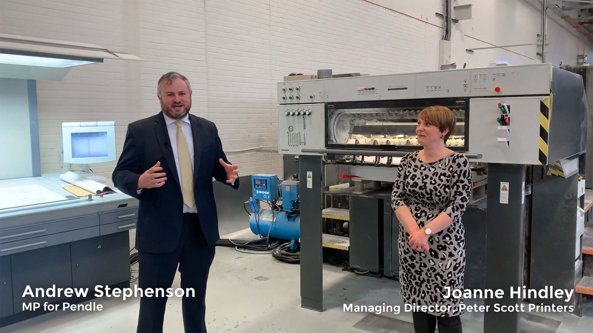 Andrew Stephenson - MP for Pendle with Peter Scott Printers' Managing Director, Joanne Hindley