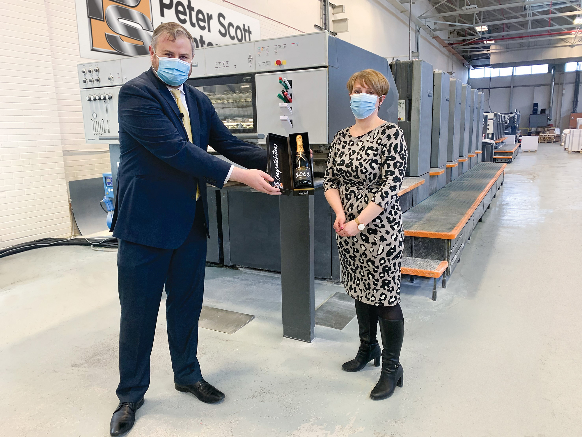 Joanne Hindley promoted to Managing Director of Peter Scott Printers, in surprise ceremony with MP